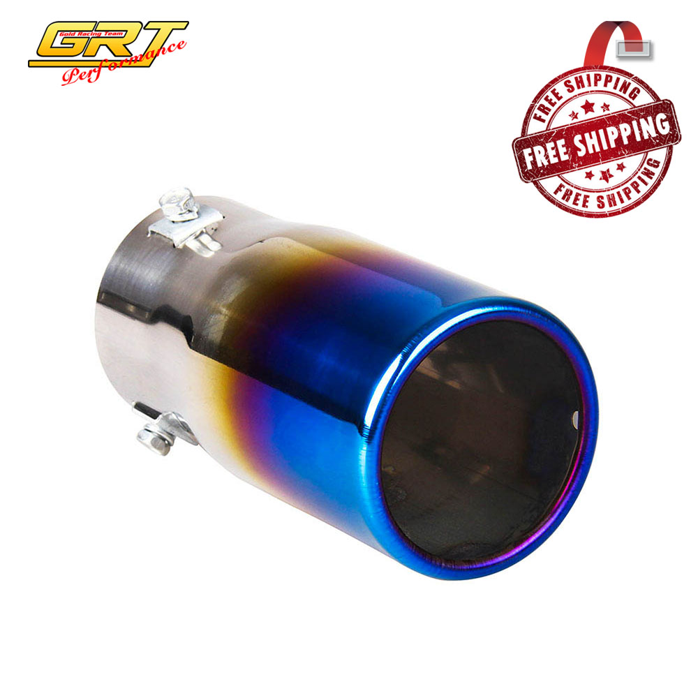 Free shipping neo chrome car stainless steel chrome round exhaust tail muffler tip pipe universal fits in mufflers from automobiles motorcycles on