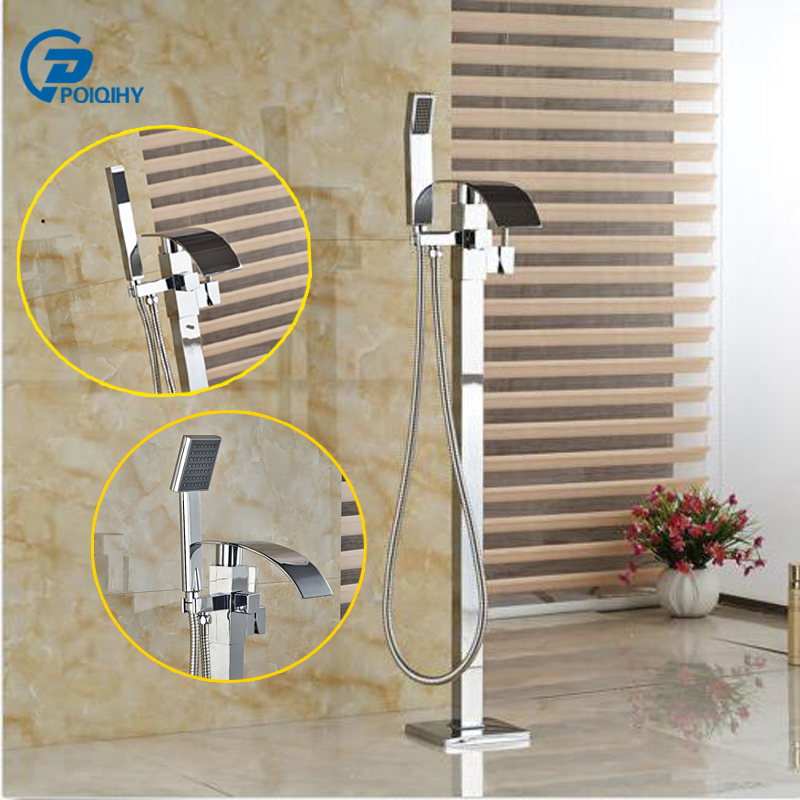 POIQIHY Chrome finished Free Standing Waterfall  Tub Filler Tub Faucet Mixer Tap with Handheld sprayer poiqihy chrome rain