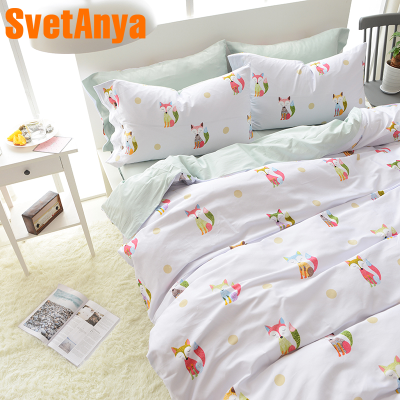 Svetanya Egyptian Cotton Bedding Sets Fox Printed Bedsheet Pillowcases Duvet cover set Twin Queen King Double Size WhiteSvetanya Egyptian Cotton Bedding Sets Fox Printed Bedsheet Pillowcases Duvet cover set Twin Queen King Double Size White