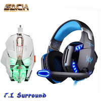 Kotion Each G2200 USB Gamer Headset 7 1 Stereo Professional Wired Headphones Surround LED Bass Headset
