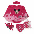 Baby Rompers Christmas Costumes 4pcs Infant Toddler Baby Girl Clothing Set Christmas Outfits Newborn Infant Party Dress Jumpsuit