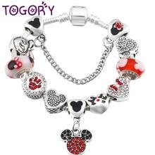 TOGORY подлинный Серебряный браслет с Микки Маусом, бусины Минни, прекрасный браслет для женщин, мальчиков и девочек, ювелирное изделие, подарок