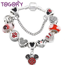 TOGORY Authentic Silver Color Mickey Charm Bracelet With Cartoon Minnie Beads Fine Bracelet For Women Boy & Girl Jewelry Gift(China)