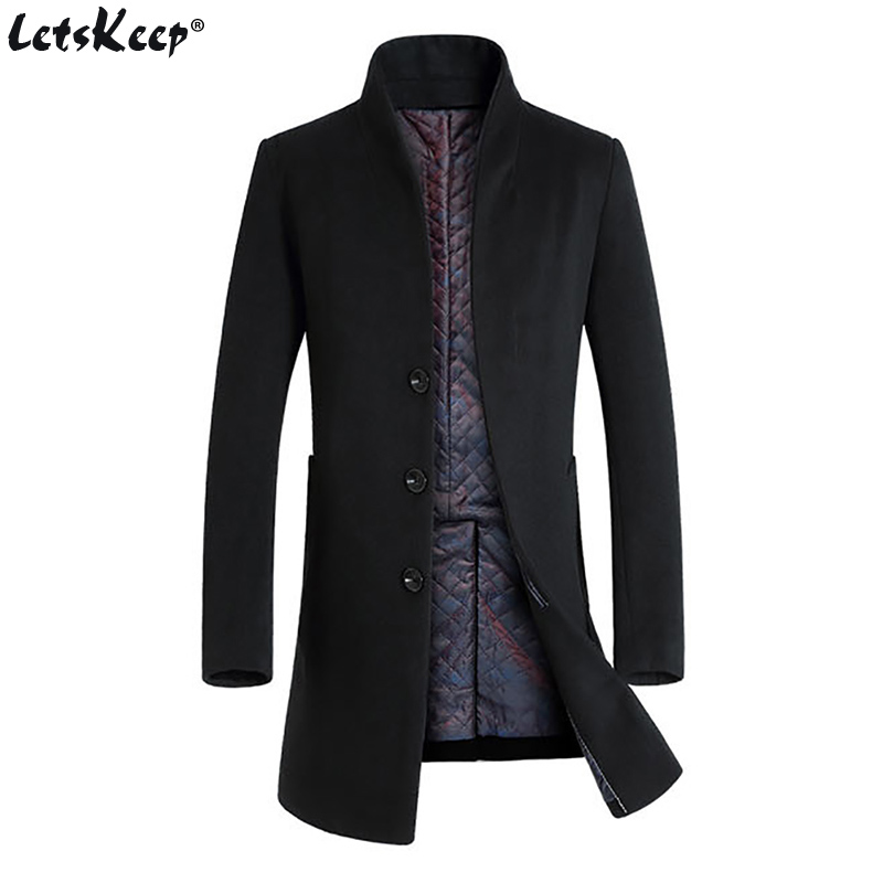 Letskeep 2017 New Winter woolen long peacoat men slim fit casual thick overcoat mens warm Windbreaker trench coat Jackets, MA209