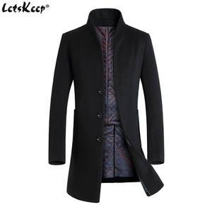 38add48ba7423 Letskeep Winter woolen long peacoat overcoat mens Jackets