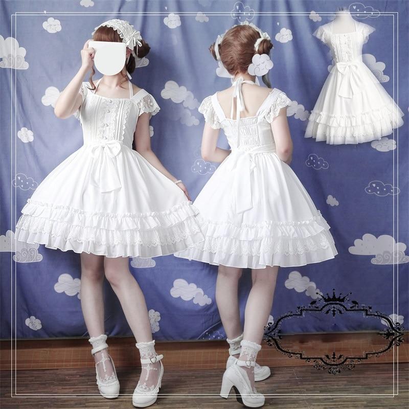 Japanese Sweet Lolita Vintage Lace Bow Princess JSK Dress Elegant Fairy Suspenders Dress Multilayer Flouncing Sleeveles