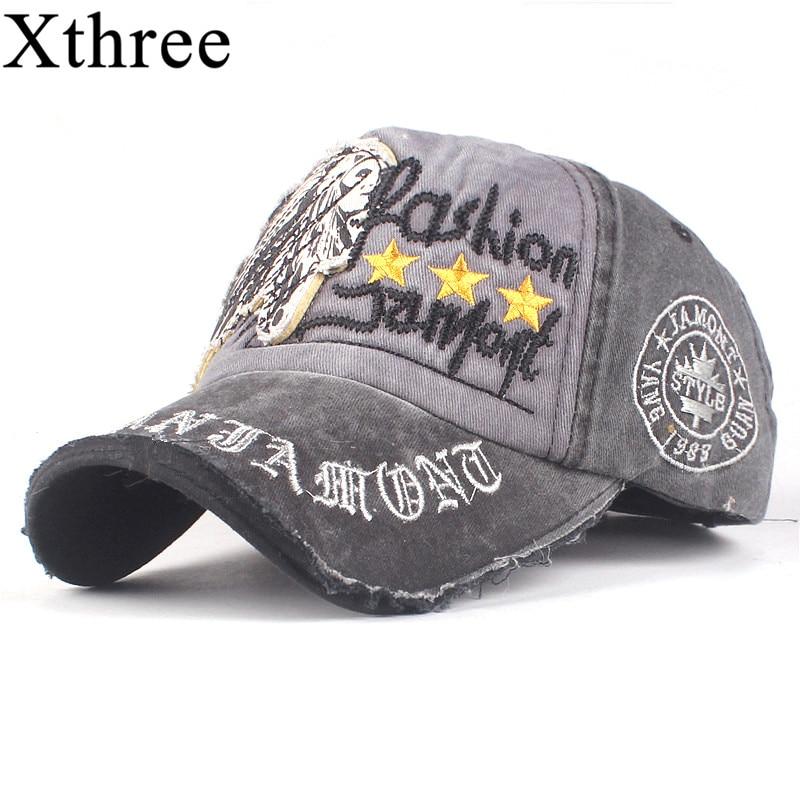 25cd2a29c22 Xthree 100% Cotton Baseball cap Snapback Hats Autumn Summer Hat for Men  Women Caps Casquette