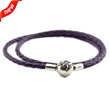Dark Purple Leather Bracelets and Necklaces for Women Jewelry Making Fits European Beads 925 Sterling Silver Starry Sky Clasp dark blue leather bracelets and necklaces for women jewelry making fits european bead charm 925 sterling silver starry sky clasp