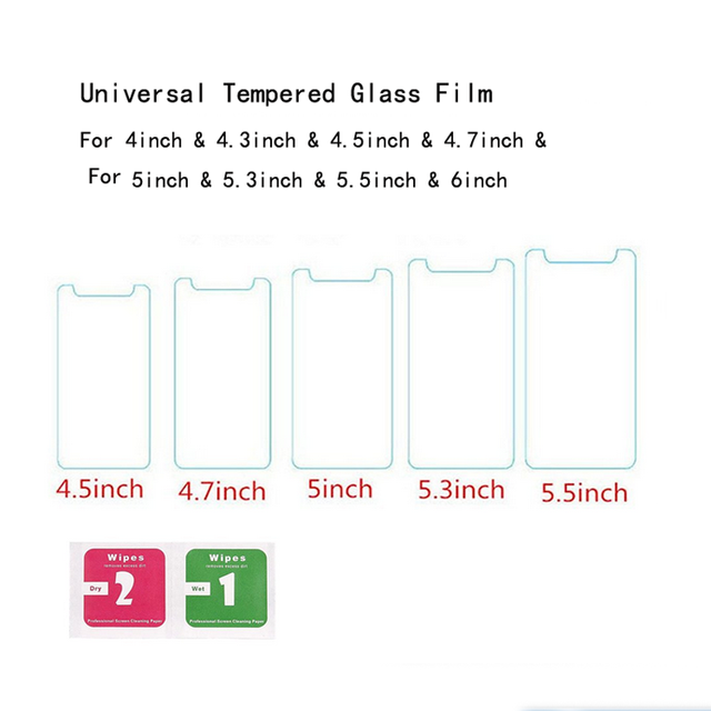 "2 PCS Universal 4 ""4.3"" 4.5 ""4.7"" 5 ""5.3"" 5.5 ""5.7"" Vidro temperado Protetor de Tela Para Haier VERTEX Mizu Jinga Texet Uhans"