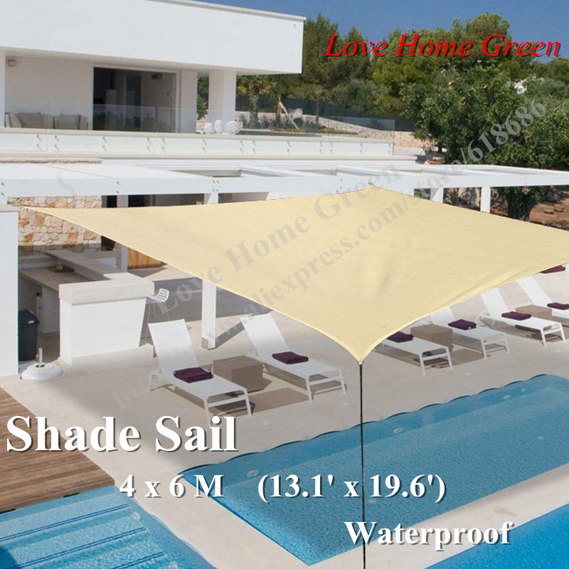 13.1' x 19.6' Waterproof Fabric Sun Shade Sail with free ropes used for garden sun shade 4 x 6 M sun fabric 100 pantelleria