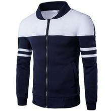 2020 Men's Spring Coat & Outerwear Striped Patchwork Sportswear For Male Stand Collar Slim Coat Casual Fleece Sweatshirt Jackets