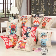 Chinese Style Beijing Opera Cushion Cover Wedding Couple Pillow Cover Cute Cartoon Decorative Pillowcase Boy Girl Lovers Pillows cute cartoon style couple lovers keychain silver pair
