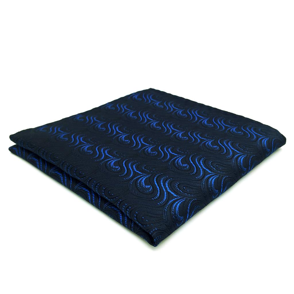 FH14 Navy Blue Geometric Mens Pocket Square Handkerchief Silk Business For Suit