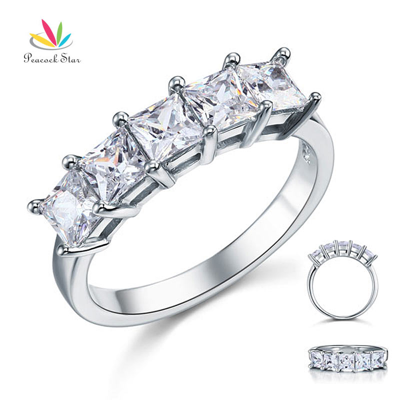 Peacock Star Princess Cut  Five Stone 1.25 Ct Solid 925 Sterling Silver Bridal Wedding Band Ring Jewelry CFR8072