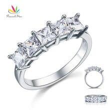 Павлин звезда Принцесса Cut Пять камень 1.25 Ct Твердые стерлингового серебра 925 люкс обручальное кольцо ювелирные изделия CFR8072