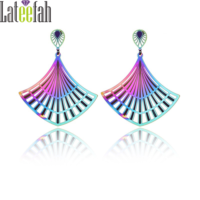 Lateefah Unique Stainless Steel Jewelry Earrings for Women Colorful Hollow Big Exaggerated Ginkgo Leaf Rainbow Earrings Brincos