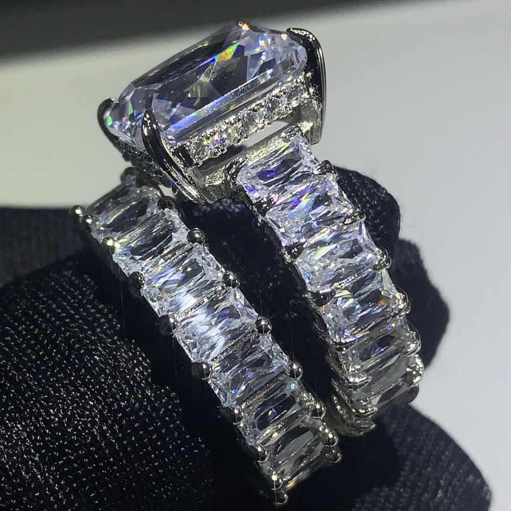 Funkelnden Abendessen Förderung Deluxe Schmuck 925 Sterling Silber Große Kissen Form 5A CZ Paar Ring Engagement Band Ring für Frauen