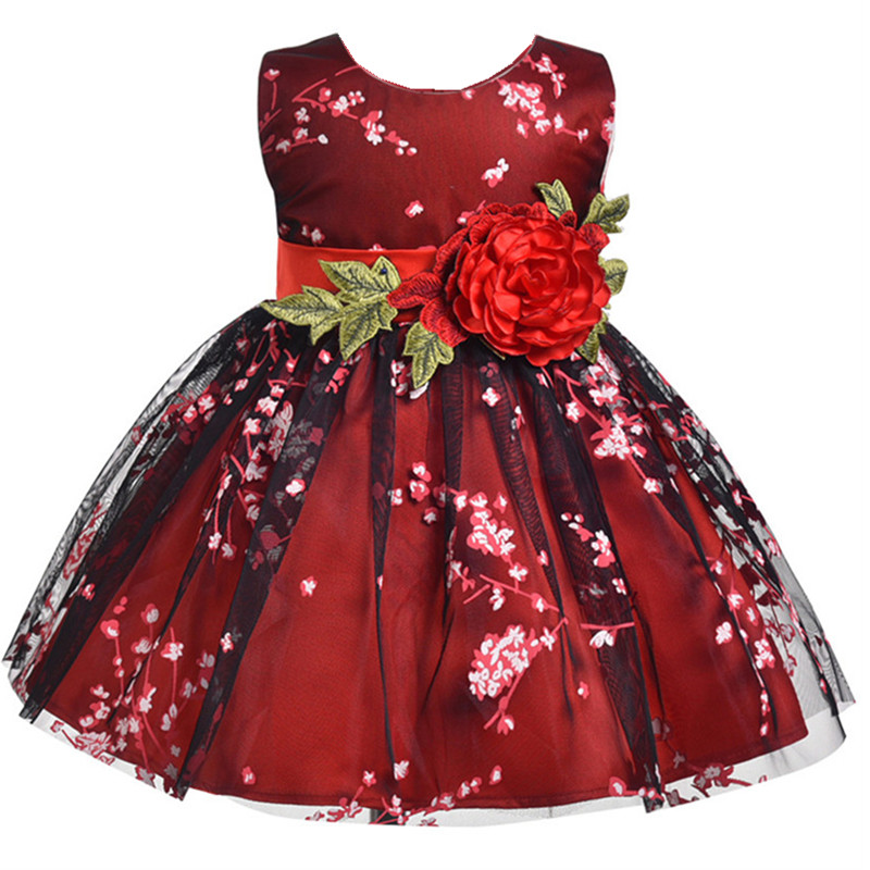 Girl Dress for summer Dresses Floral Print sleeveless Vestido Kids clothes Princess Girl Costume Baby girl dress Red wine lcjmmo red spring summer girl lace dress 2018 kids dresses for girls princess party wedding sleeveless baby girl dress clothes