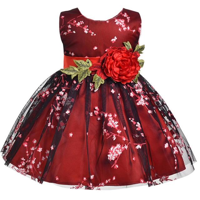 Girl Dress for summer Dresses Floral Print sleeveless Vestido Kids clothes  Princess Girl Costume Baby girl dress Red wine 275b106b66de