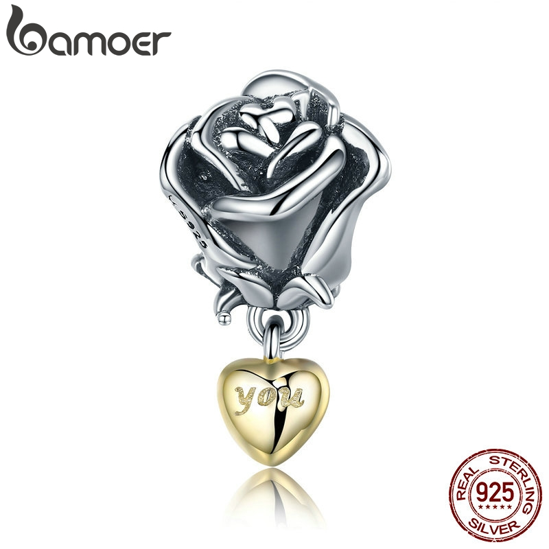 BAMOER Authentic 925 Sterling Silver Rose Flower with You in Heart Dangle Charm fit Bracelet Jewelry Valentine Day Gift SCC455BAMOER Authentic 925 Sterling Silver Rose Flower with You in Heart Dangle Charm fit Bracelet Jewelry Valentine Day Gift SCC455