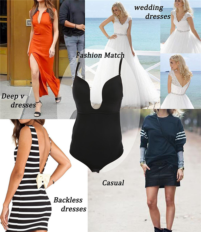 0cfd34b251fc9 Aliexpress.com   Buy NINGMI Women U Plunge Bodysuit Underwear Bra Brief  Bottom Shapewear Low Back Body Briefter Shaper Wedding Bridal Dress  Lingeries from ...