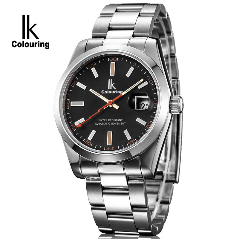 ФОТО Ik for fully-automatic mechanical watch steel mens watch male casual watch solid steel 98390g