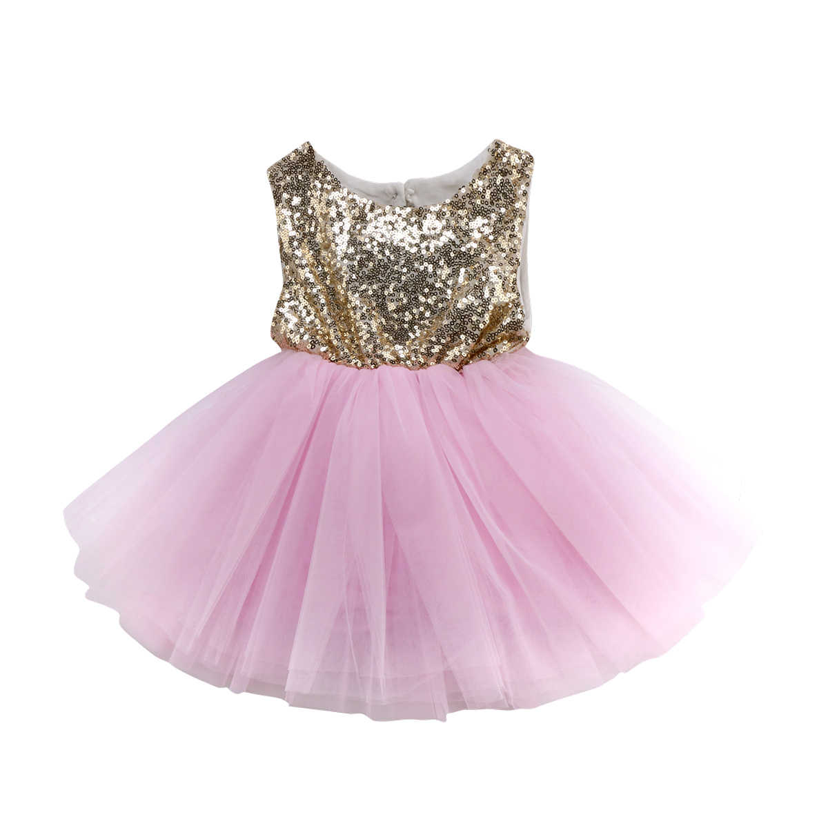 2019 Newest Style Kids Baby Lovely Girl Three Colors Bling Ball Gown Tutu  Party Dress Backless 7b91f2b239e2