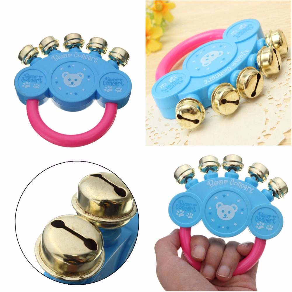 US $1 19 |Hand Shaking Bell Plastic Hand Jingle Shaking Bell Baby Toys Kids  Rattle Toddler Music Toy-in Baby Rattles & Mobiles from Toys & Hobbies on