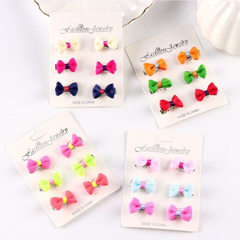 Wholesale 6PCS/Set New Cute Baby Girls Barrettes Candy Color Kids Small Hair Clips Hair Bows Hairpins Children Hair Accessories new women girls dot hair accessories candy color double ball hairpins cute baby kids hair clip ribbon dot barrettes