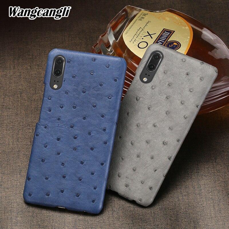 De luxe En Cuir Véritable téléphone étui pour huawei P20 rare peau d'autruche coque de téléphone Demi-paquet couverture arrière