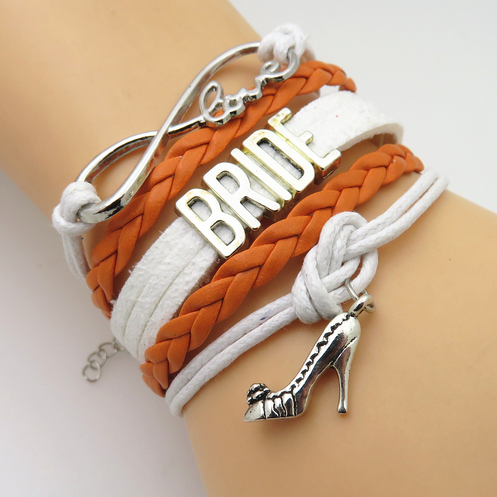 SANDEI fashion Infinity Love BRIDESMAID Bracelet Orange white BRIDE wedding gifts friendship Bracelets party bridal jewlery