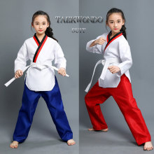Adult Man Male Female child kids Breathable cotton Taekwondo uniform  Approved training dobok clothes with 1 belt