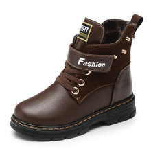Фотография Children Martin Boots 2017 New Autumn Winter Genuine Leather Boots Kids Snow Boots Boys Zipper Shoes For 3-14 Years Old