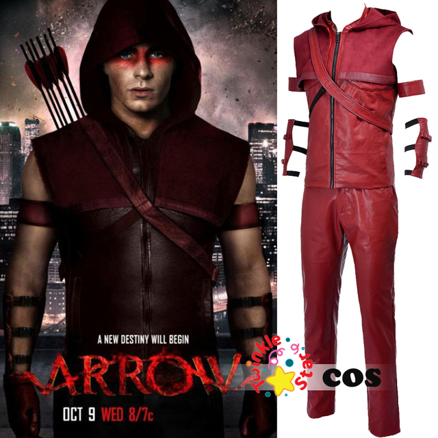 superhero green arrow cosplay costumes for men leather red arrow roy harper cosplay costume adult