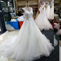 Customize Rushed Jusere Tank V Neck Bodice Appliques Luxury Beaded Bow Belt Chapel Train Lined Hem A Line Wedding Dress 2018