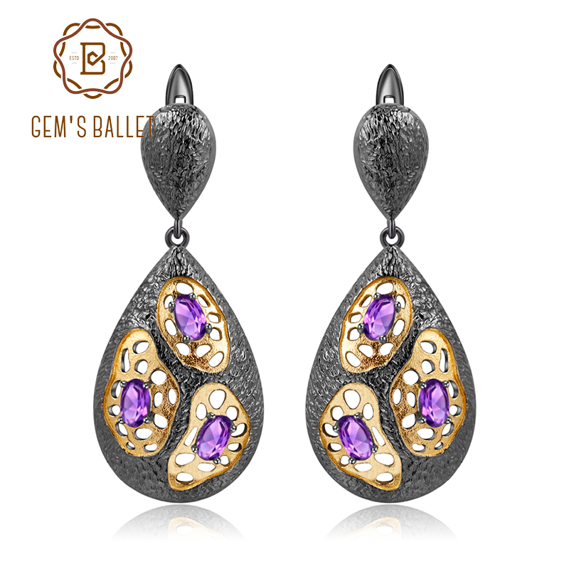 GEM S BALLET 925 Sterling Silver Earrings Handmade The Persistence of Memory Element Natural Amethyst Drop