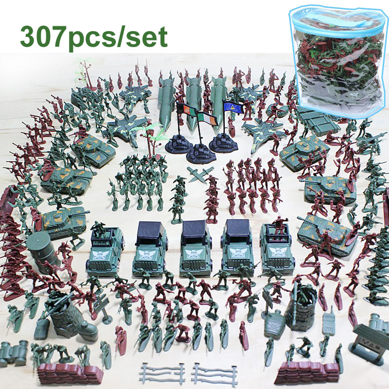 307pcs lot Military Plastic Soldiers Army Toy Model for Boy Action Figures Decor Play set Model
