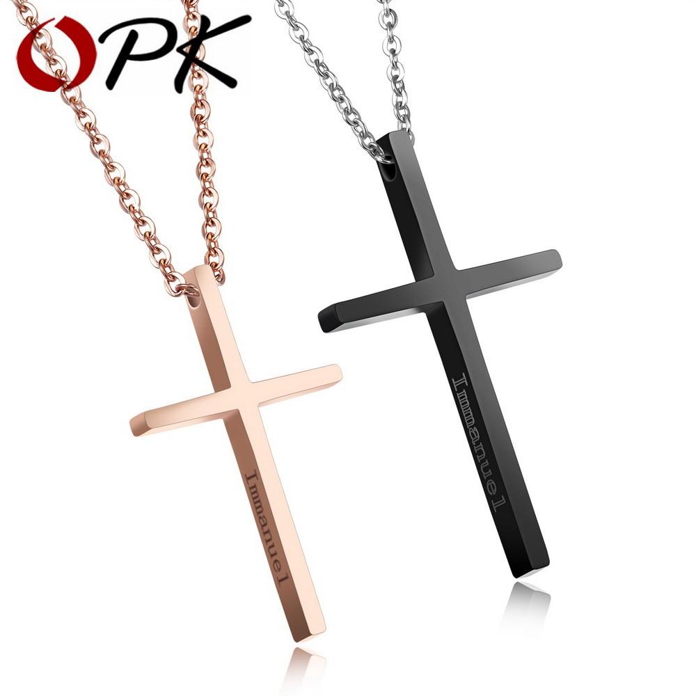 OPK Romantique Croix Pendentif Colliers Pour Amant Rose Couleur Or/Noir Acier Inoxydable Immanuel Conception Couple Cadeau GX1167