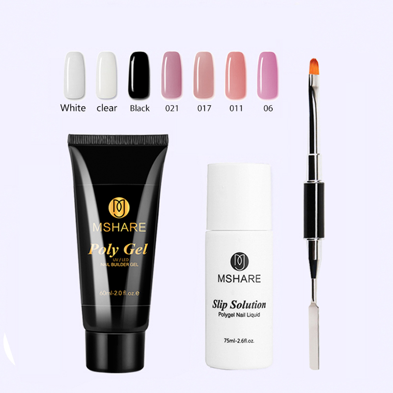 MSHARE Poly Gel Nail Extension Set Quick Builder Finger Extension Nail Camouflage Crystal Jelly Gel Varnish 60ML
