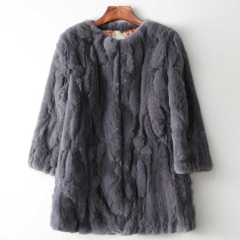 Ethel Anderson hakiki Rex tavşan kürkü Ceket Vintage Stil kadın Gerçek Kürk Uzun Ceket Gerçek Çiftlik Rex Tavşan Kürk