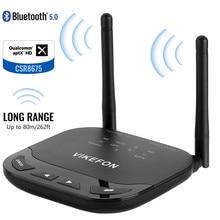 VIKEFON Upgraded Bluetooth 5.0 Audio Transmitter Receiver 1000mAh Support aptX/HD/LL Switch 80m/262ft Long Rang Wireless Adapter