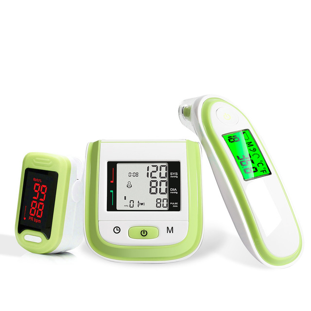3 in 1 Health Care Set / LED Fingertip Pulse Oximeter + LCD Blood Pressure Monitor + Ear Infrared Thermometer 5