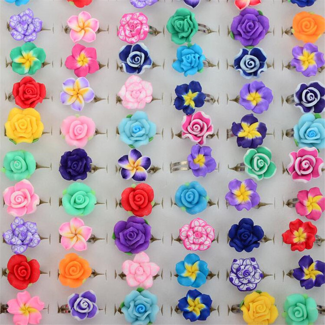 CHIC Wholesale Lots 10pcs Colorful Rose Flower polymer clay Children Rings Adjus