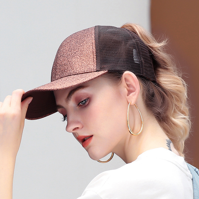 Drop Shipping Glitter Ponytail Baseball Cap Women Messy Bun Baseball Cap  Girls Snapback Caps Summer Sports Mesh Hats e9334986080
