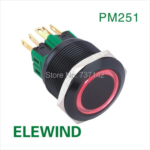 ELEWIND 25mm BLACK aluminum Ring illuminated Latching push button switch(PM251F-11ZE/R/12V/A) elewind 22mm black illuminated power symbol push button switch pm221f 11zet b 12v a
