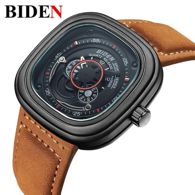 ФОТО 2017 Mens Watches BIDEN Brand Luxury Casual Military Quartz Sports Wristwatch Leather Strap Male Clock watch relogio masculino