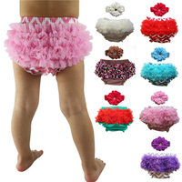 Hot Sale Cotton Baby Bloomer With Chiffon Ruffle,infant Bloomer,toddler Diaper Covers Free Shipping 0-24m With Headband