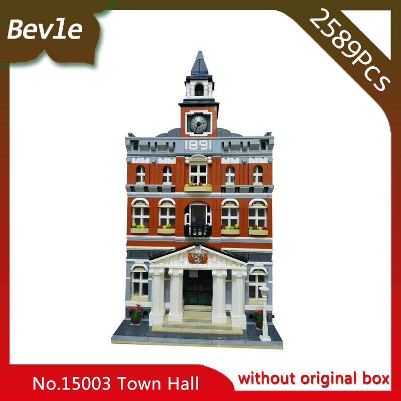 ФОТО Bevle Store LEPIN 15003 2859Pcs street View series Town Hall Model Building Kit  Blocks For Children Toys 10024 Child Gift