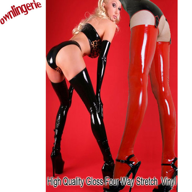 Sexy wet look pu leather women full toe stocking,gloss thigh high leather stocking in black and red for leg keep warm and shape