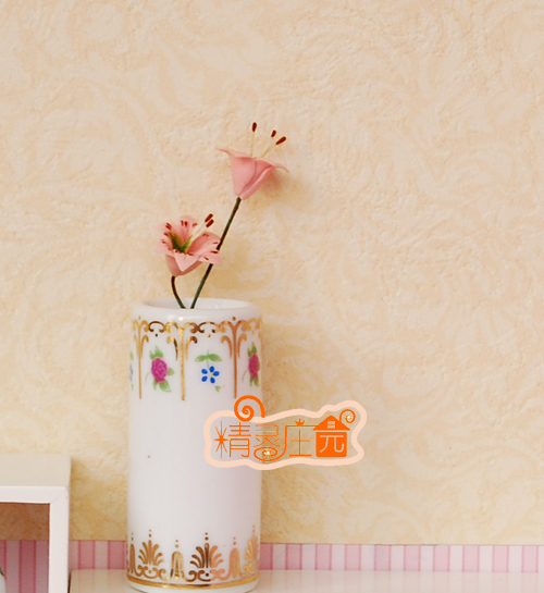 Mini dollhouse Mini furniture accessories model of European style straight vase modern good